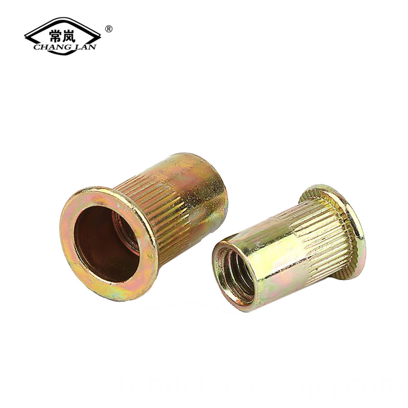 Flat head vertical grain rivet nut
